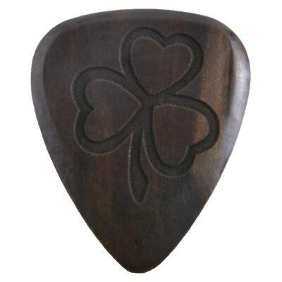Solid Wooden Guitar Pick With Irish Shamrock Design Black Colour