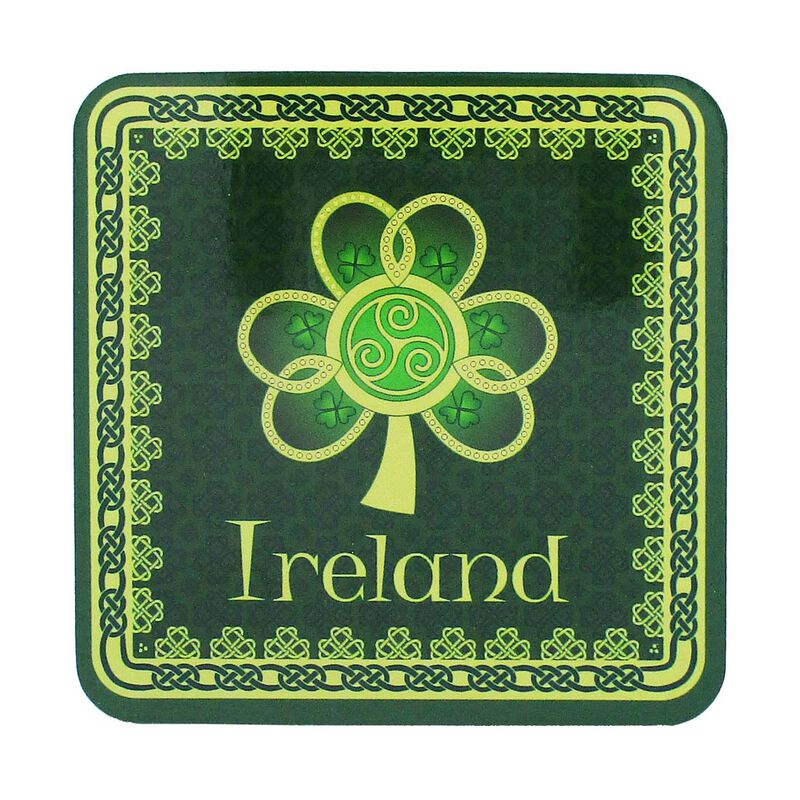 Irish Celtic Coaster With Shamrock Spiral Design