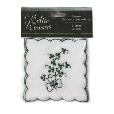 """Celtic Weavers Kinsale Shamrock Embroidered 4"""" Square Mats  4-Pack"""