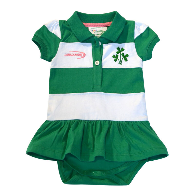Green And White Striped Baby Dress Vest With Shamrock Design