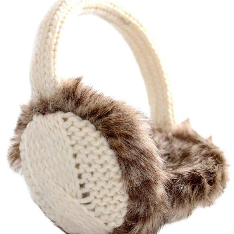 Knit Style White Ear Muffs With Faux Fur