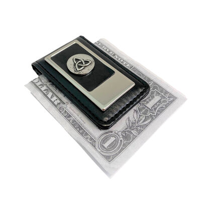 Celtic Boxed Leather Money Clip With Embossed Trinity Design