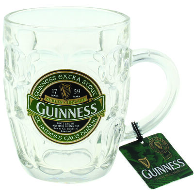 Dimpled Glass Tankard with St. James Gate Label - Guinness Ireland Collection