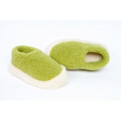Yoko Wool Siberian Slippers, Green Pea Colour