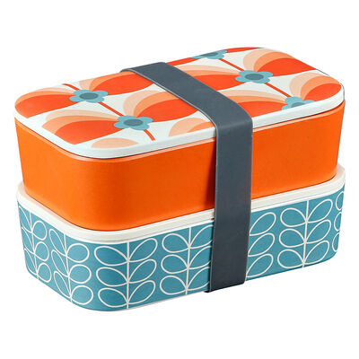 Orla Kiely Butterfly Stem Designed Bamboo 2 Tier Lunch Box