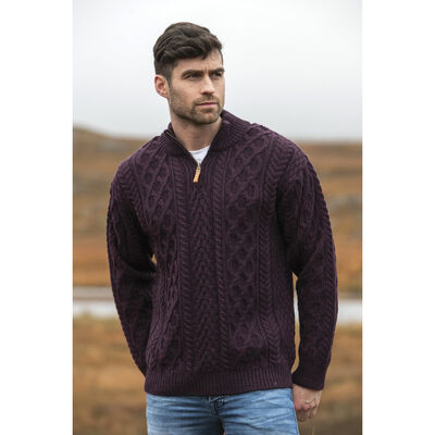 Merino Wool Knitted Jumper With Cable And Herringbone Stitching And Half Zip