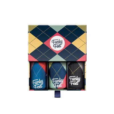 Funky Feet Argyle Designed 3 Pack of Socks