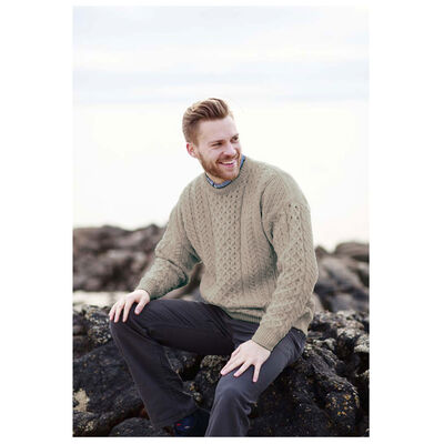 100% Natural Wool Crew Neck Traditional Aran Sweater  Skiddaw Colour