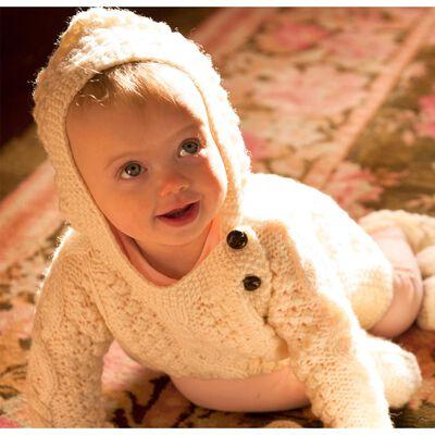 Baby-Aran-Kapuzenpulli mit Seitenverschluss