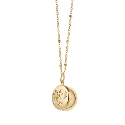 Gold Plated Amy Huberman Newbridge Silverware Locket with Sun, Moon & Stars Design