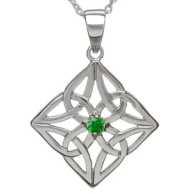 Hallmarked Sterling Silver Agate Filigree Pendant With Celtic Knot Design