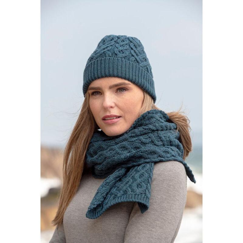 100% Super Soft Merino Wool Heart Designed Hat Scarf Set, Teal Blue Colour