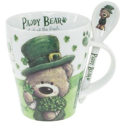 """Paddy Bear-Set mit Tasse und Löffel im irischen Design mit Kleeblattmotiv und der Aufschrift """"Ireland"""""""