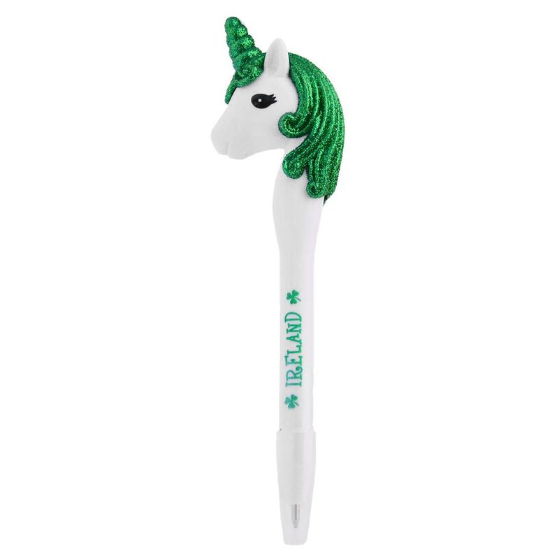 Ireland Pen With Cap And Unicorn With Green Glitter Mane Design