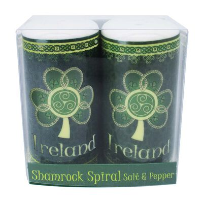 Shamrock Spiral Ireland Salt and Pepper Shaker With A Green And Yellow Celtic Design
