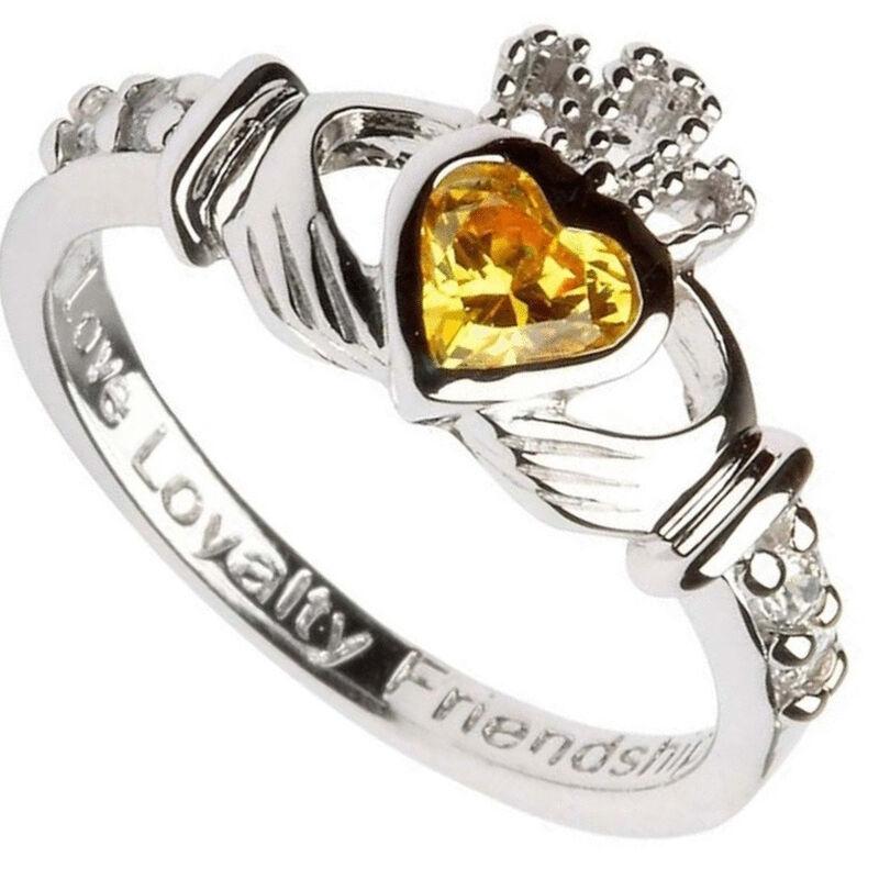 Hallmarked Sterling Silver Claddagh November Birthstone Ring