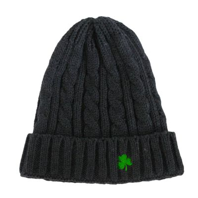 Acrylic Cable Knit Beanie Hat Dark Grey Colour With Green Embroidered Shamrock