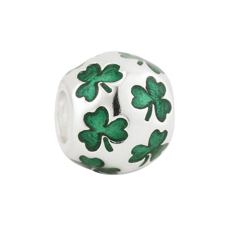 Bead Charm With Multiple Shamrocks Inlayed  Hallmarked Sterling Silver
