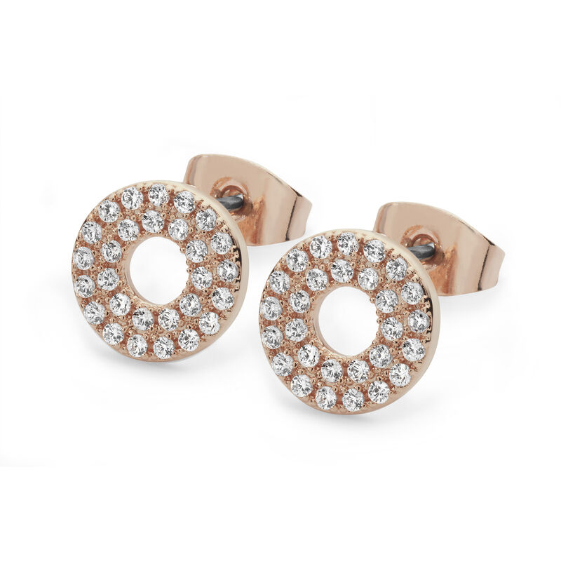 Tipperary Crystal Rose Gold Plated Pave Triple Band Moon Earrings, Comes With Gift Box