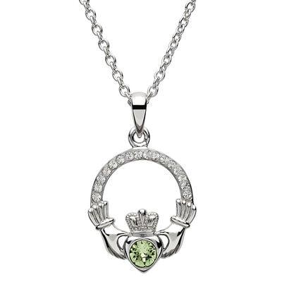 Platinum Plated Claddagh August Birthstone Pendant With Swarovski Crystals