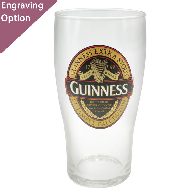 Guinness Pint Glass With Guinness Classic Collection Red And Black Label Design