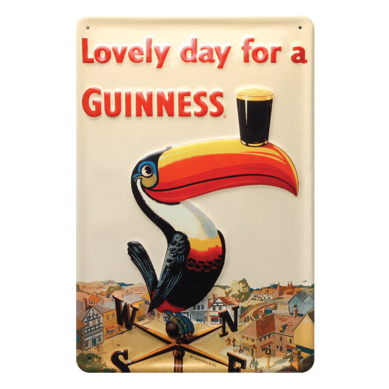 Guinness Metal Sign With Iconic Toucan On A Weathervane (20Cm X 30Cm)