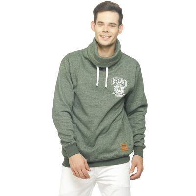 Green Republic Of Ireland Cead Mile Failte Crest Designed High Neck Sweater
