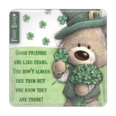 "Paddy Bear-Epoxidmagnet im irischen Design mit der Aufschrift ""Good Friends Are Like Stars"""