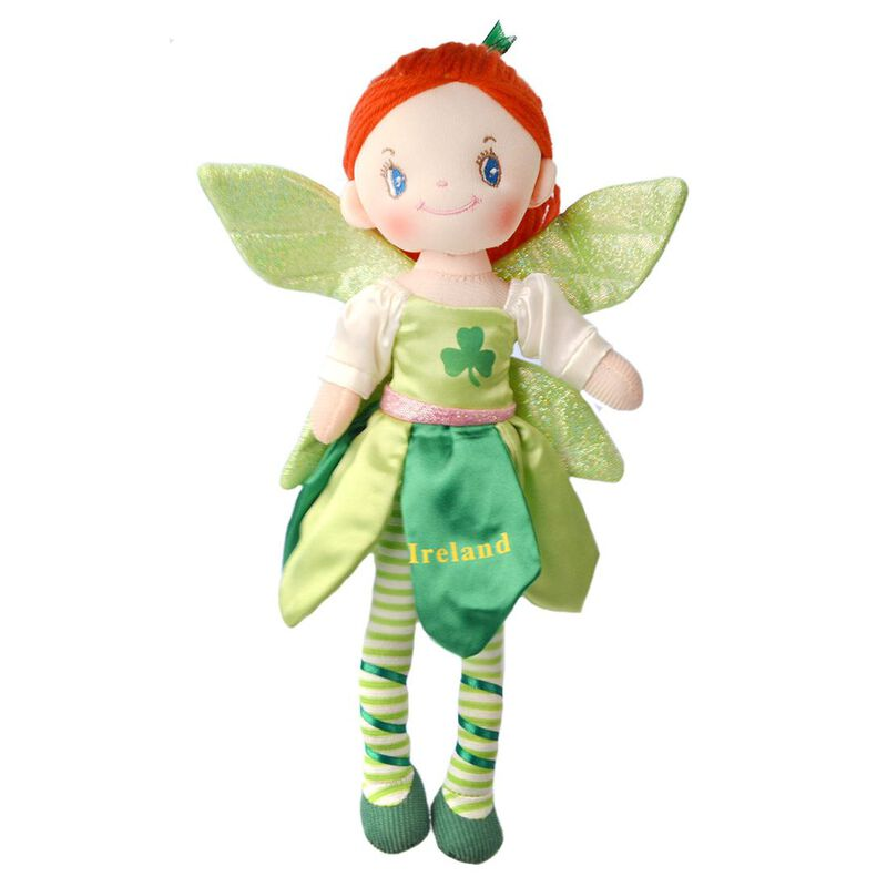 """Ireland Fairy Rag Doll With Green Dress And Glittery Wings 12"""" In Height"""