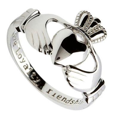"""Claddagh-Ring aus gepunztem Sterlingsilber mit eingraviertem Text """"Love  Loyalty & Friendship"""" (Liebe  Treue und Freundschaft)"""