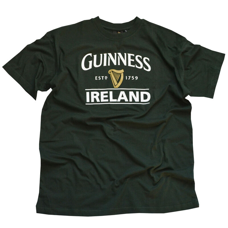 Bottle Green Guinness T-Shirt With Ireland EST. 1759 With Gold Harp Design