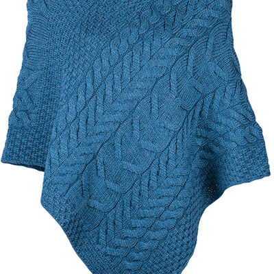 Super Soft Merino Wool Triangular Aran Cable Knit Design Poncho, Natural Colour