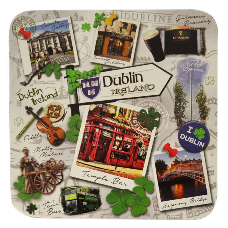 Destination Dublin Coaster  Showing Famous Landmarks And Icons Of Dublin