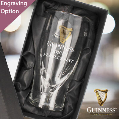 Official Guinness 20Oz Pint Glass With Engraving and Gift Box