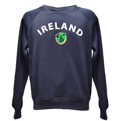 Ladies Sweater With Ireland Shamrock Design, Navy Colour