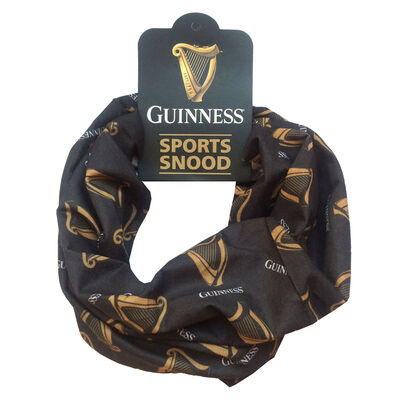Guinness Sports Snood With Gold Harp Print  Black Colour