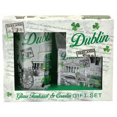 Dublin Ireland Montage Designed Glass Tankard And Coaster Gift Set