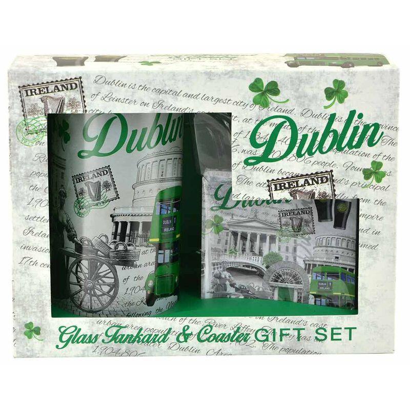 Dublin Ireland Montage Designed Glass Tankard And Coaster Gift Set