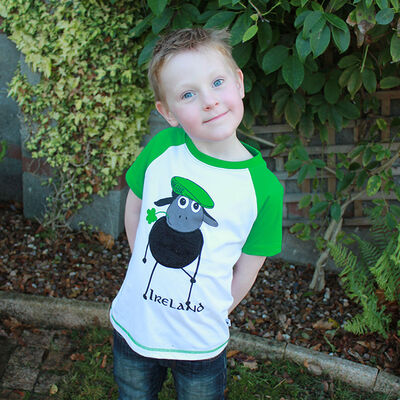 White And Emerald Green Raglan Kids T-Shirt With Farmer Sheep Design