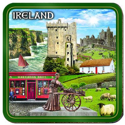 Einzelner Irland-Untersetzer mit Collage von irischen Sehenswürdigkeiten  Molly Malone  Schloss