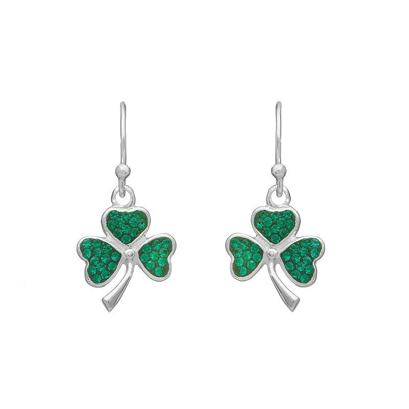 Hallmarked Sterling Silver Drop Earrings With Green Shamrock Shape Design