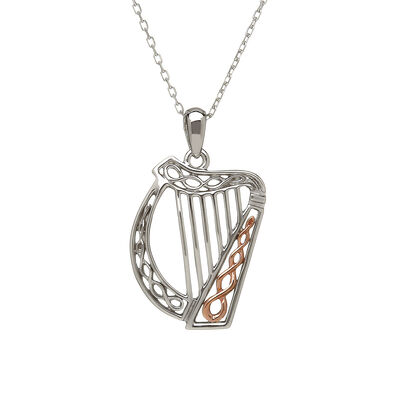 Hallmarked Sterling Silver Irish Harp Pendant with Rose Gold