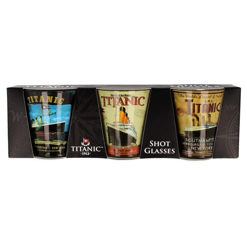 Titanic 1912 White Star Line Collectors 3 Pack Poster Images Shot Glasses
