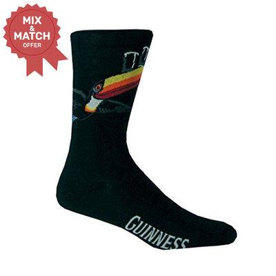 Black Guinness Socks With Flying Toucan And Guinness Print