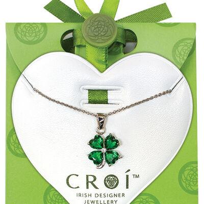 Croí-Klee-Halskette in irischem Design mit Swarovski-Kristallen