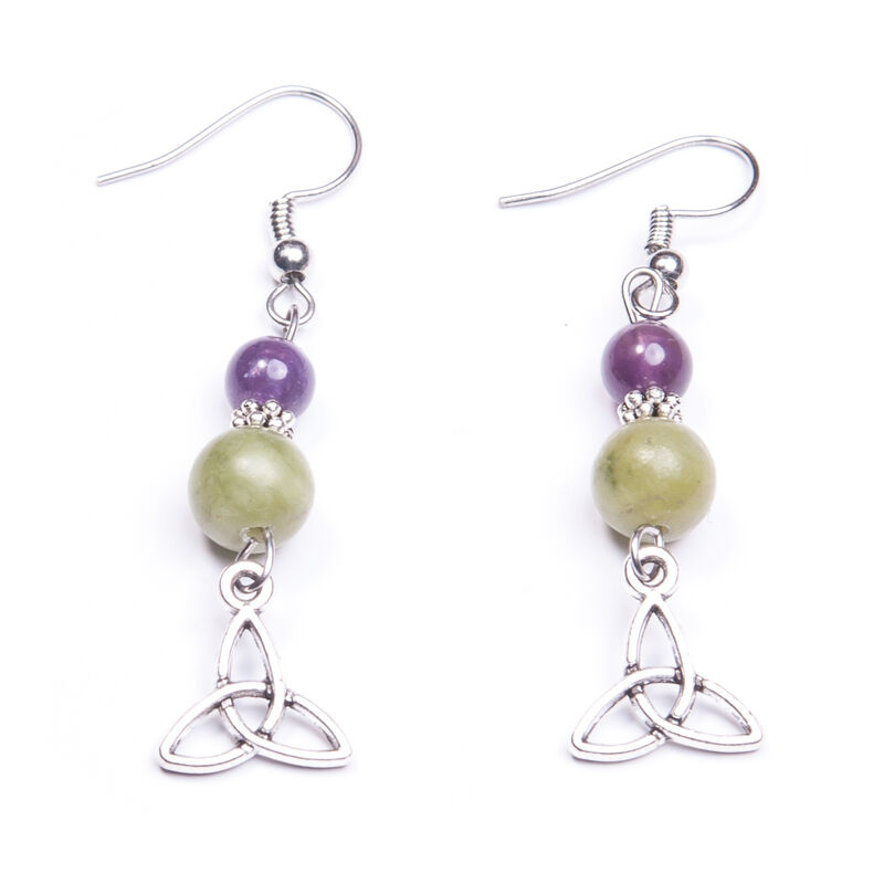 Amethyst and Connemara Marble Trinity Knot Earrings  Handmade In Ireland