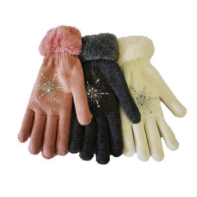 Super Soft One Size Adult Gloves With Glitter Diamond Design