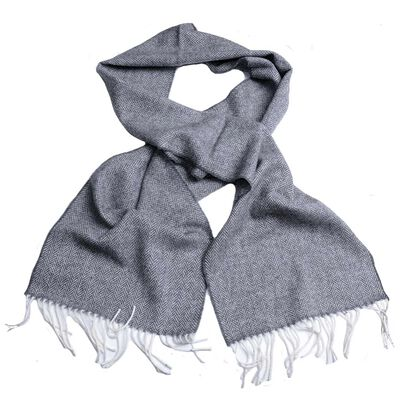 Standard Grey Lambswool Scarf Designed with a Traditional V – Pattern