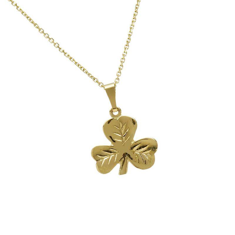 10 Carat Gold Shamrock Pendant On Gold Chain