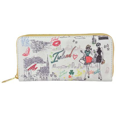 White Ladies Wallet With Irish Icons And Irish Lifestyle Design